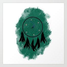 Dreamcatcher crow: Green background Art Print