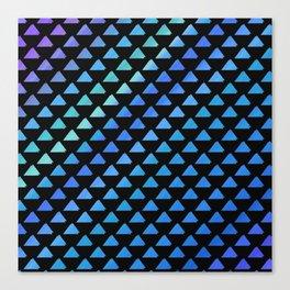 Blue geometric pattern with black background Canvas Print
