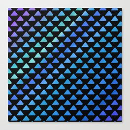 Blue geometric pattern with black background Canvas Print