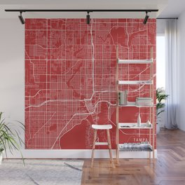 Tampa Map, USA - Red Wall Mural
