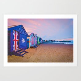 Beautiful Brighton boat houses at sunrise, Melbourne, Australia Art Print