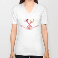 magical girl V-neck T-shirts featuring Magical Girl In Training by mimia