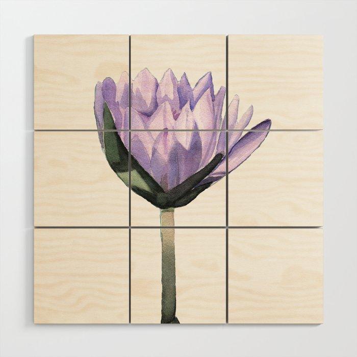 Purple Water Lily in Watercolor Wood Wall Art