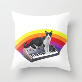 Cats on Synthesizers Throw Pillow