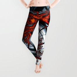 Fractal Art - Burning Web Leggings