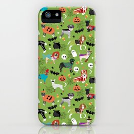 Dogs halloween costumes cute pumpkin ghost skeleton witch trick or treat iPhone Case