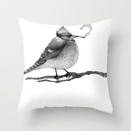 Blue Jay Smoking a Joint Throw Pillow