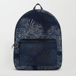 Denim Blue Shibori Sea Urchin Burst Pattern Backpack