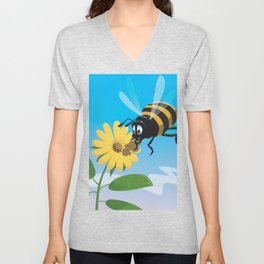 Happy cartoon bee with yellow flower LARGE Unisex V-Neck