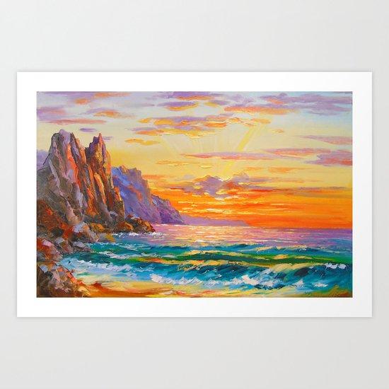 Sunset on the rocky shore Art Print