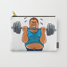 fat overweight man with dumbbell Carry-All Pouch