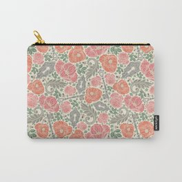 Orange poppies and red roses with keys on light background Carry-All Pouch