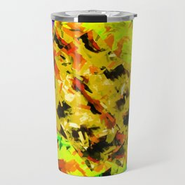 yellow green brown red orange abstract painting background Travel Mug