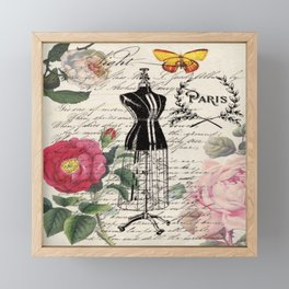 french country rose floral modern vintage dress mannequin paris fashion Framed Mini Art Print