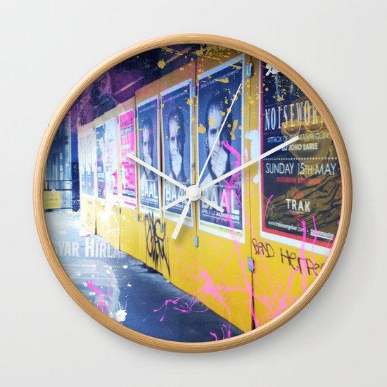 purple and yellow _  little burke graffiti Wall Clock