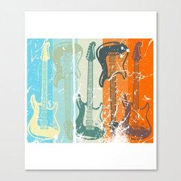 Retro Electric Guitars Music Player Guitarist Rock Canvas Print