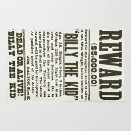 Wanted poster for Billy the Kid Rug