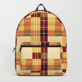 Plaid White Stitch Yellow And Brown Lumberjack Flannel Backpack