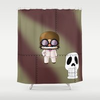 digimon Shower Curtains featuring Chibi Mamma Aiuto by artwaste
