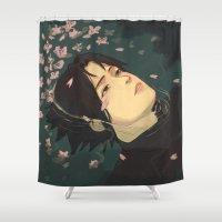 sasuke Shower Curtains featuring float by chibikizumi