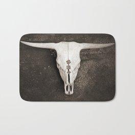 Sepia Brown Cow Skull Bath Mat
