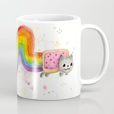 Rainbow Cat Meme Geek Whimsical Animal Painting Mug