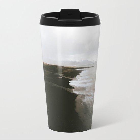 Moody black sand beach in Iceland - Landscape Photography Metal Travel Mug