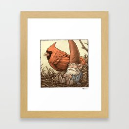 Sleepy Gnome & Cardinal Framed Art Print