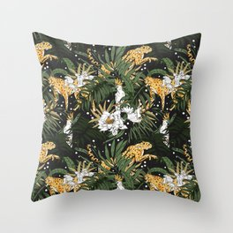 Animals in the glamorous nocturnal jungle Throw Pillow