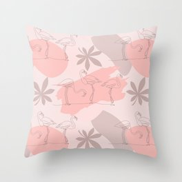 Summer Blush Flamingos and Leaves Throw Pillow