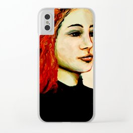 Red hair Clear iPhone Case