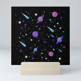 Just close your eyes and think about space Mini Art Print