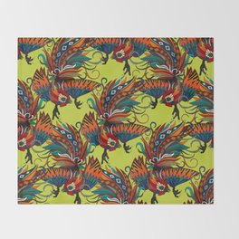 rooster ink chartreuse Throw Blanket