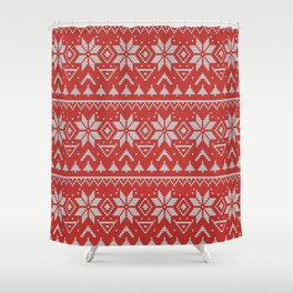 4 Knitted Christmas pattern in retro style pattern Shower Curtain