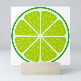 Green lime slice- citrus fruit cut section Mini Art Print