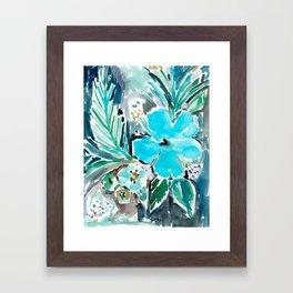 BLUE HAWAII HIBISCUS Framed Art Print