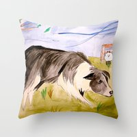 border collie Throw Pillows featuring Border Collie by Caballos of Colour