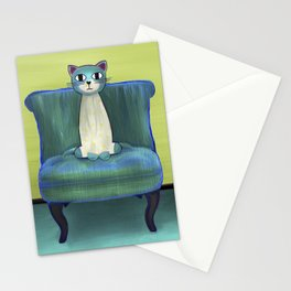 Elegant Cat green Stationery Cards