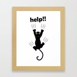 Funny Cat grabing with claws Framed Art Print
