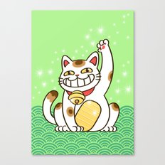 Winners Are Grinners (Lucky Cat) Canvas Print