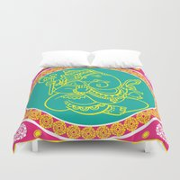 ganesh Duvet Covers featuring Ganesh by Chetna Shetty