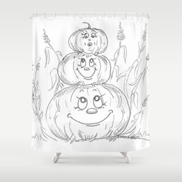 Pumpkin Totem Shower Curtain