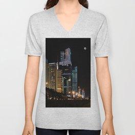Night city, Shenzhen (China) (2018-7SZN9) Unisex V-Neck