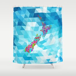 New Zealand Map : Square Shower Curtain