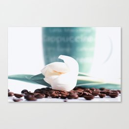 Coffee Time and spring flowers Canvas Print