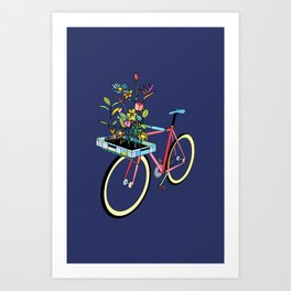 Bike and Flowers Art Print