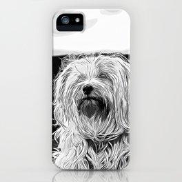 hairy havanese dog vector art black white iPhone Case