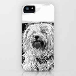 hairy havanese dog vector art black white iPhone Case