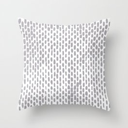 Minimalist Staggered Brush Strokes Silver Throw Pillow