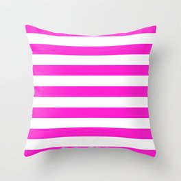 Horizontal Stripes (Hot Magenta/White) Throw Pillow
